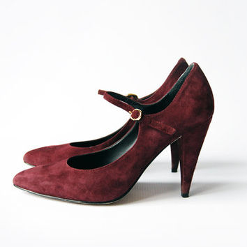 vintage burgundy red suede leather enzo angiolini mary jane pointed strappy pumps (sz. 7.5)