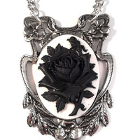 Vintage Statement Pewter Floral Setting with Black and White Resin Rose Pendant Necklace