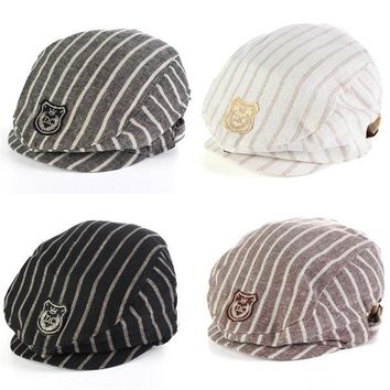 Baby Infant Boy Stripe Autumn Beret Cap Casual Peaked Baseball Hat
