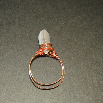 Botswana Agate Copper Wire Ring Size 9