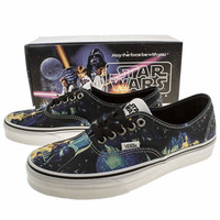 Womens Black And Blue Vans Authentic X Star Wars Trainers | schuh