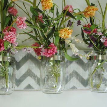 Chevron on single recycled board with 3 clear Mason Jars for unique home wall decor