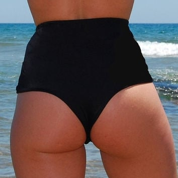 High-Waisted Brazilian Thong Bikini Bottom PAMPELONNE in lava black, by Makani Dream Swimwear