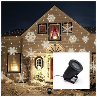 Indoor Outdoor Automatically Led Moving Snowflakes Spotlight Lamp Wall Tree Christmas Holiday Garden Landscape Decoration Projector Light White