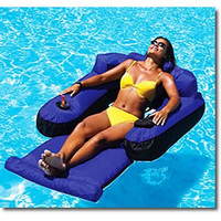 Large Inflatable Swimming Pool Water Recliner Lounge Chair with Cup Holder