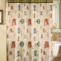 Shower Curtain & Hooks Owl Bathroom Set Collection Brown Green Accessories Decor