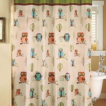 Owl Bathroom Shower Curtain & Hooks Set Collection Brown Green Accessories Decor
