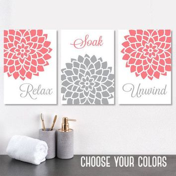 Coral Gray BATHROOM WALL Art, Canvas or Print Floral Bathroom Decor, Relax Soak Unwind, Flower Bathroom Quotes Pictures, Set of 3 Artwork