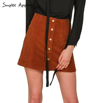 DCCKWQA Simplee Apparel Retro corduroy high waist skirt A line button slim mini skirt Preppy single breasted Autumn women skirt 90's new