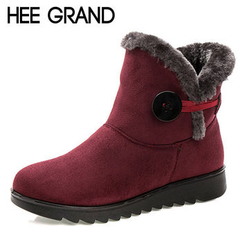 HEE GRAND Winter Women Boots Flock Warm Ankle Snow Boots 2017 Platform Mother Shoes Woman Slip On Flats Button Creepers XWX1597