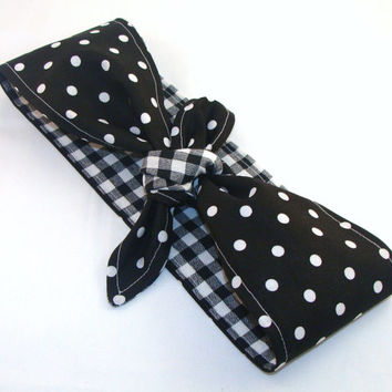 Pin up Rockabilly Head Scarf, Black with White Dots on Black Gingham Reversible Headband 40s Hair