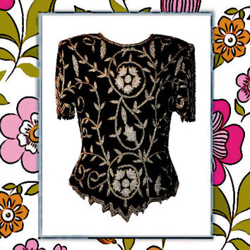 Vintage Lawrence Kazar Black Silk Evening Blouse with Silver and Gold Beading - Fits Size Small to Medium