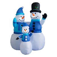 BZB Goods 4-ft. LED Snowmen Family Christmas Inflatable Decor - Indoor / Outdoor