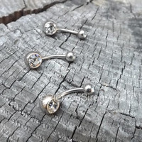 """14g Ring navel belly diamond button dangle crystal body rhinestone stainless steel piercing jewelry curved bar piercings clear 7/16"""" navel"""