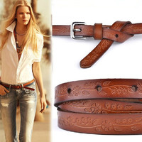 fashion women's carved genuine leather thin all-match casual vintage pin buckle belt 3 color