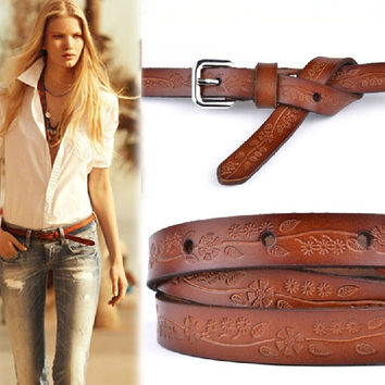 hot new 2015 Vintage womens belt New Style Carve Flower Pigskin Slender Belt