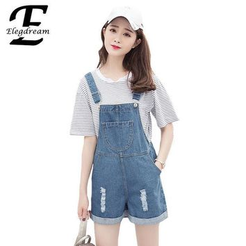 ESB8UH Elegdream Womens Jumpsuit Denim Overall 2017 Summer Jumpsuits and Rompers Casual Strap Hole Ripped Pockets Shorts Jeans Coverall