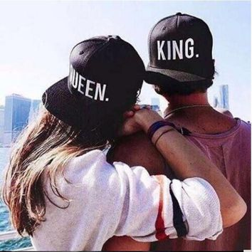 1PC KING QUEEN Embroidered Snapback Caps Lover Men Women Baseball Cap Black Hip Hop Cap Snapback hats,