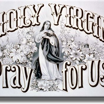 Holy Virgin Pray For Us Religious Picture Made on Acrylic Wall Art Decor Ready to Hang!.