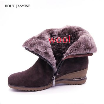 shoes Winter Boots Warm Wool Snow Boots cow Leather Boots Women Shoes 2018 Genuine Leather plus size Wedges Non-slip Women Boots