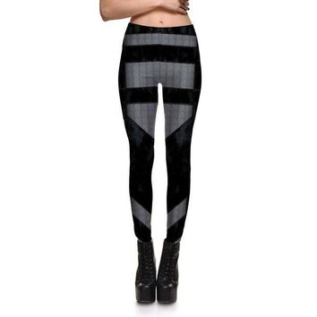 DCCKH6B Fashion Sexy Fitness Leggings Women Gothic Punk Rock Patchwork Black Grid Leggings Girls Skinny Plus Size Pencil Clothes