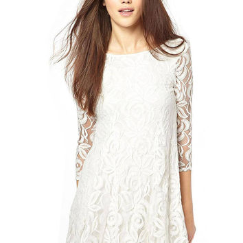 White Lace Dress with 3/4 Sleeve