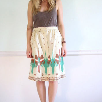 70s Southwestern Native American Desert Printed High Waist Mini Pencil Skirt - Medium M Large L