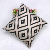 Geometric Argyle Linen Throw Pillow Case Cushion Cover Home Decor IUT6523