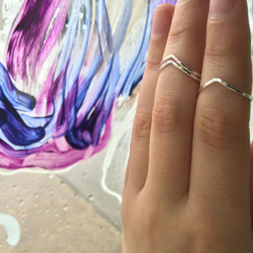 Set of 3 Peaked Chevron Hammered Sterling Silver Stacking Ring - custom made to order