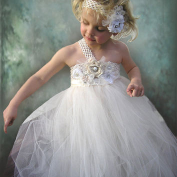 Flower Girl Dress  Ivory Tulle Wedding Dress for Little Girl size newborn to 12 years old