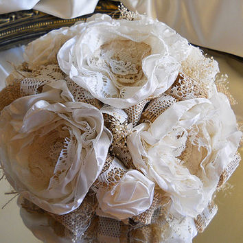 "6"" Cake Topper, Burlap and Vintage Lace, ivory silk peony fabric flowers and babies breath."