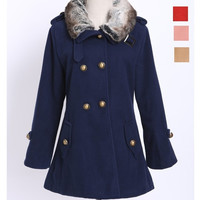 New Fashion Autumn Winter Women Tweed Coat Turn-Down Collar Double Breasted Long Style Outerwear with faux fur collar = 1956601540