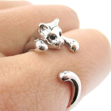 Realistic Kitty Cat Shaped Animal Wrap Around Ring in Shiny Silver | US Size 3 to Size 8.5