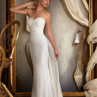 Mori Lee 1914 Strapless Lace Sheath Wedding Dress