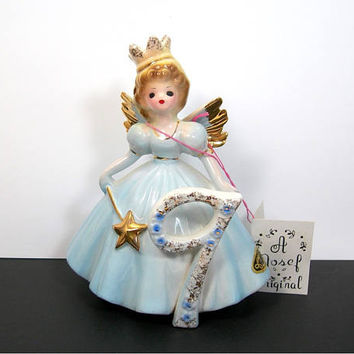 Josef Originals 9 Year Birthday Girl Angel - Blonde Princess in Blue Gown with Wand and Crown - Vintage Figurine Collectible - Gift Minty