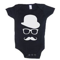 MUSTACHE WAYFARER Hat Baby Onesuit Bodysuit - American Apparel - 3-6m, 6-12m, 12-18m, 18-24m, (7 Color Options)