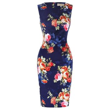 Sleeveless Wrapped Floral Pattern Dress
