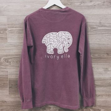 Women's Summer Casual Tops Tees Ivory Ella Elephant Long Sleeve t-shirts For Women