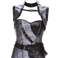 2016 Women Retro Goth Brocade Steampunk Corsets Bustiers with grey Goggles Tracksuit Slimming Bodysuit