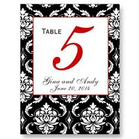 Elegant Damask Wedding Table Number Card Postcards from Zazzle.com
