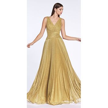 CLEARANCE - Metallic Pleated Long Prom Dress V-Neck and Back Gold (Size 14)