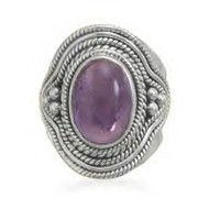 Amethyst Ring With Rope And Bead Design Band