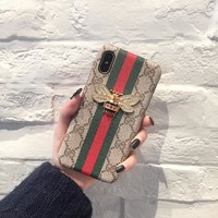 Bees Striped Leather Stylish GUCCI Fashion Cover Case for iPhone