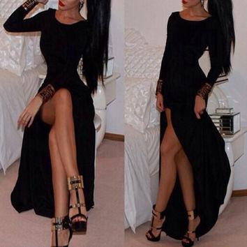 Black Long Sleeve Hem Maxi Dress