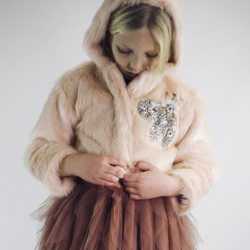 DOLLY by Le Petit Tom ® FLAMINGO fur hooded jacket with ears ballet pink
