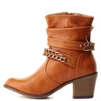 Chain Embellished Slouchy Ankle Boots by Charlotte Russe - Camel