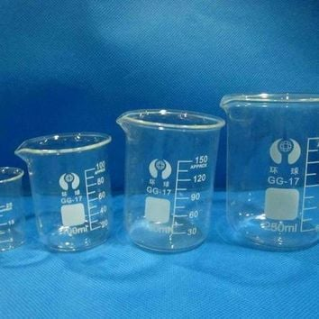 Glass beakers laboratory beaker with measuring scale