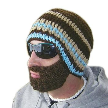 Hot Free Shipping 2017 Creative Beard Novelty Handmade Knitting Wool Funny Octopus Hat Christmas Party Hand-Knitted Unisex Gift