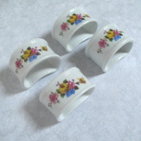 Vintage Napkin Rings -  Floral Napkin Rings -  Ceramic Holders - Table Decor -Set of Four