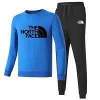 The North Face Autumn and winter new fashion letter print long sleeve top and pants leisure sports couple two piece suit Blue